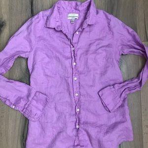 J Crew Purple Linen Perfect Shirt Size 6